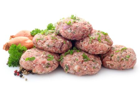 Raw Rissoles Isolated On White