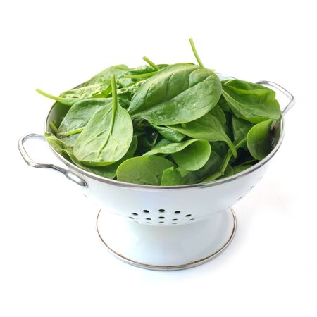 Spinach Leaves In A Colander Isolated On White Stockfoto