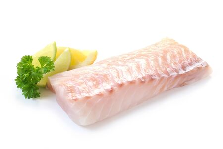 Raw Fillet Of Cod Isolated On White