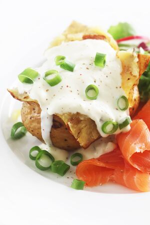 Jacket Potato With Sour Cream And Salmon
