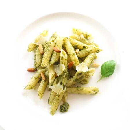 Pasta With Pesto Genovese On A White Plate