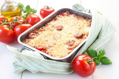 Homemade Lasagna In An Oven Dish