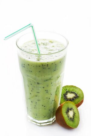 A Glass With Kiwi Shake Isolated On White