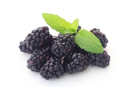 Fresh Blackberries Isolated On White Stock fotó