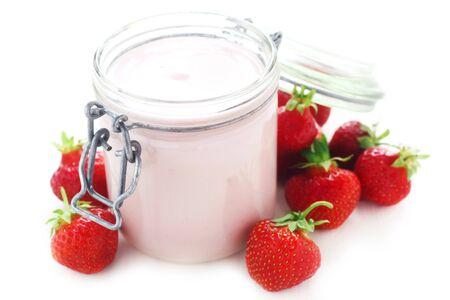 A Jar Of Strawberry Yogurt Isolated On White