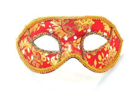 Red Carnival Mask Isolated On White Reklamní fotografie