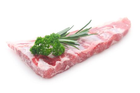 Raw Pork Ribs Isolated On White