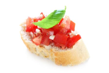 A Piece Of Bruschetta Isolated On White