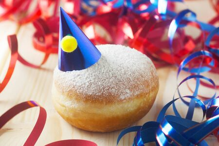Doughnut With A Party Hat For Carnival