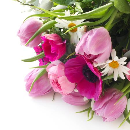 A Bunch Of Flowers On A White Background