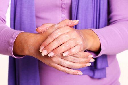 Caucasian Woman Washing Her Hands