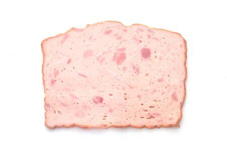 Bavarian Leberkaese Isolated On White 版權商用圖片