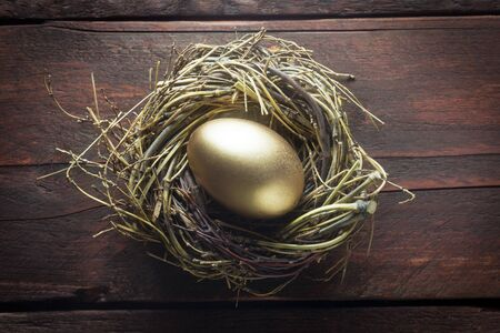 Easter Nest With A Golden Egg On A Wooden Background