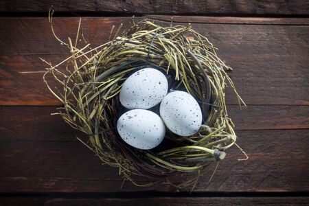 Easter Nest On A Wooden Background