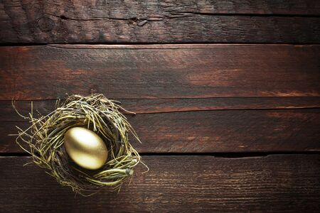 Golden Egg In A Nest On A Wooden Background