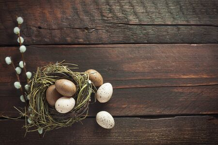 Easter Nest And Catkins On A Wooden Background