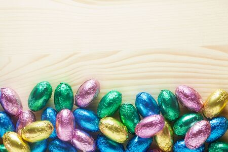 Easter Eggs On A Wooden Background 版權商用圖片