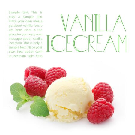 Vanilla Ice Cream With Copy Space Isolated On White