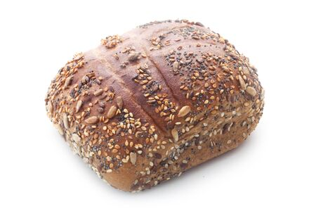 Whole Grain Roll Isolated On White 版權商用圖片