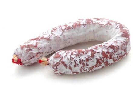 Whole Salami Isolated On White