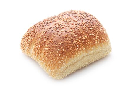 White Roll With Sesame Seeds Isolated On White 版權商用圖片