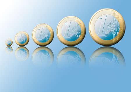 valorization: Symbolic increase of the european value.   Stock Photo