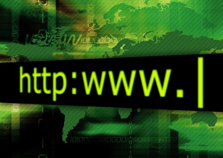 Address bar on abstract green background.