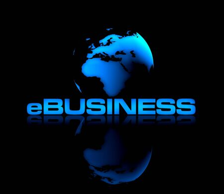 Abstract shiny globe on black background with eBUSINESS type in front. Stock Photo