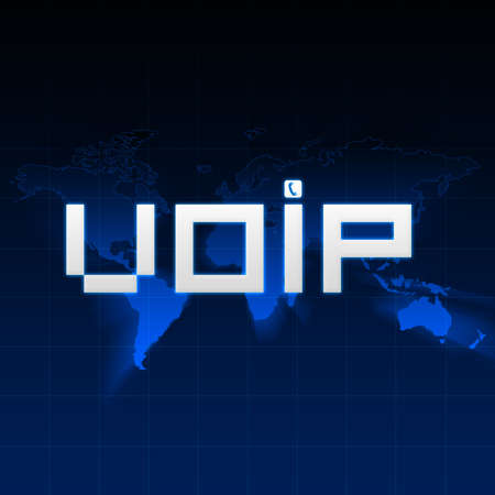 VoIP type on background with abstract map of the world.