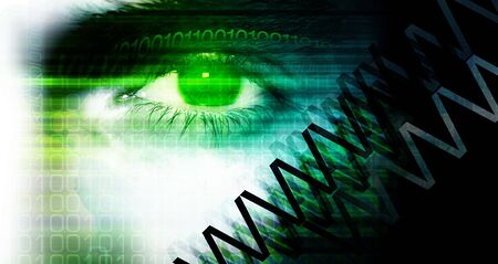 Eye detail. Illustrated & colored binary background. Stock Photo - 894325