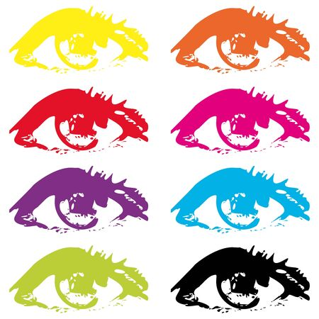 Abstract eyes eyes in different colors on white background.