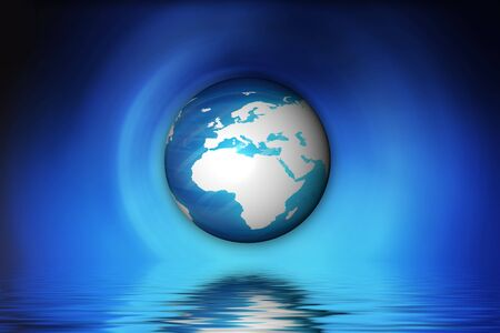 Floating globe over water with abstract blue background. photo