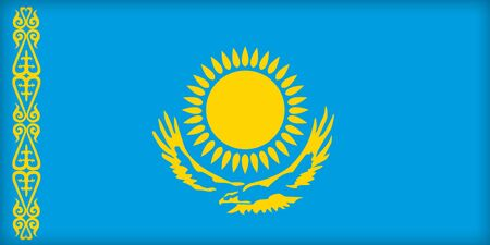 political system: The flag of Kazakhstan. (Original and official proportions).  Stock Photo