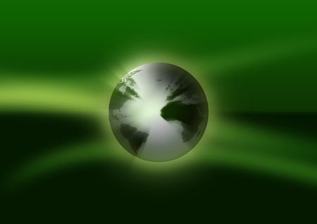 Globe on abstract greenish background.