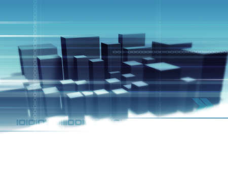 Digital City - Illustration and 3D-Rendering of an abstract city. illustration