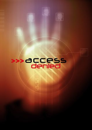 denied: Access denied - Abstract illustration of cyber security. Stock Photo