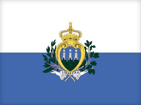 political system: La bandera de San Marino. (Original y oficial de proporciones).  Foto de archivo