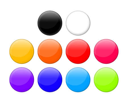 10 different colored buttons on white background. Stock Photo - 922640