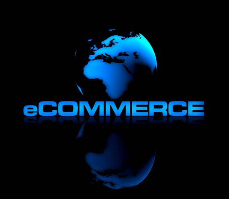 Abstract shiny globe on black background with eCOMMERCE type in front.