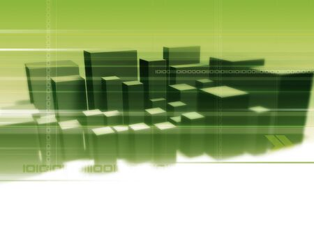 Illustration and 3D-Rendering of an abstract city. Stock Illustration - 922647