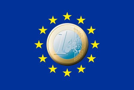 valorization: The european flag with one euro coin in the middle. Stock Photo