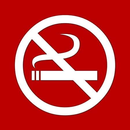 public works: White no smoking sign on red background.