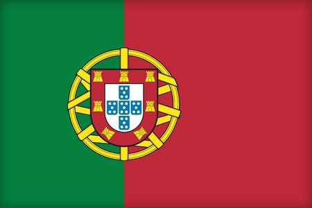 The flag of Portugal. (Original and official proportions). Stock Photo