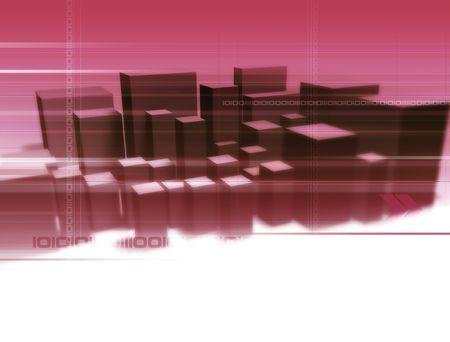 Illustration and 3D-Rendering of an digital city. Stock Illustration - 929133