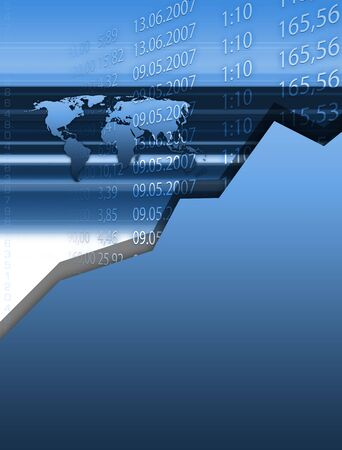 ascent: Abstract and conceptual stock market background with different elements.