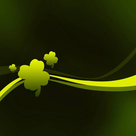 Abstract green background with curves and trefoils. (St. Patricks Day)