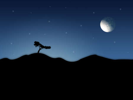 firmament: Abstract scenery with night sky and moon.