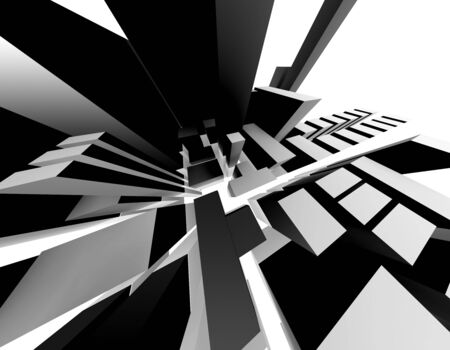 3D-Rendering of an abstract city. Interesting perspective. photo