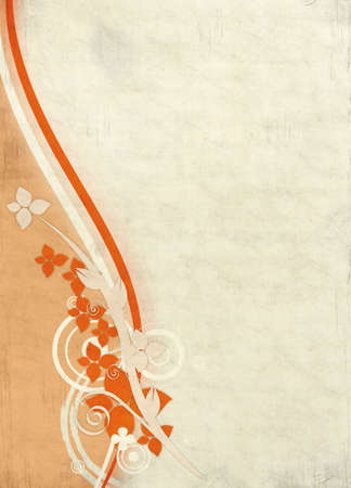 Grunge textured background with floral design elements on the left side. Stok Fotoğraf
