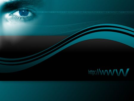 Conceptual layout about internet security with different graphical elements and close-up of an eye. Stock Photo - 981221